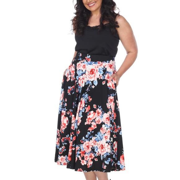 35f4b3cdc6ba2 PLUS SIZE Floral Print Full A Midi Skirt PS709-188